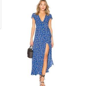 Society Amuse Blue Summer Safari Wrap Dress M
